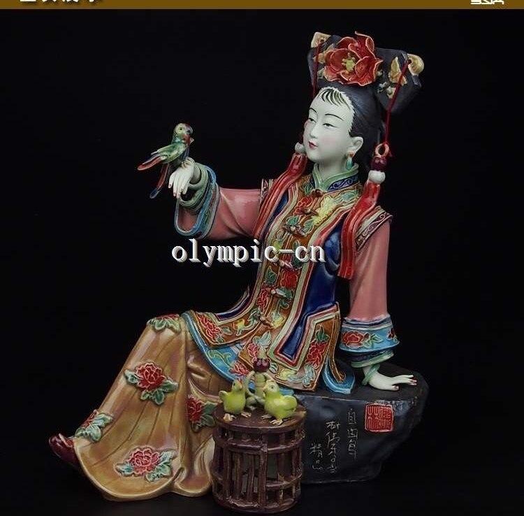 9chinese cerâmica cerâmica artesanato Pintura china antiga menina mulheres senhora