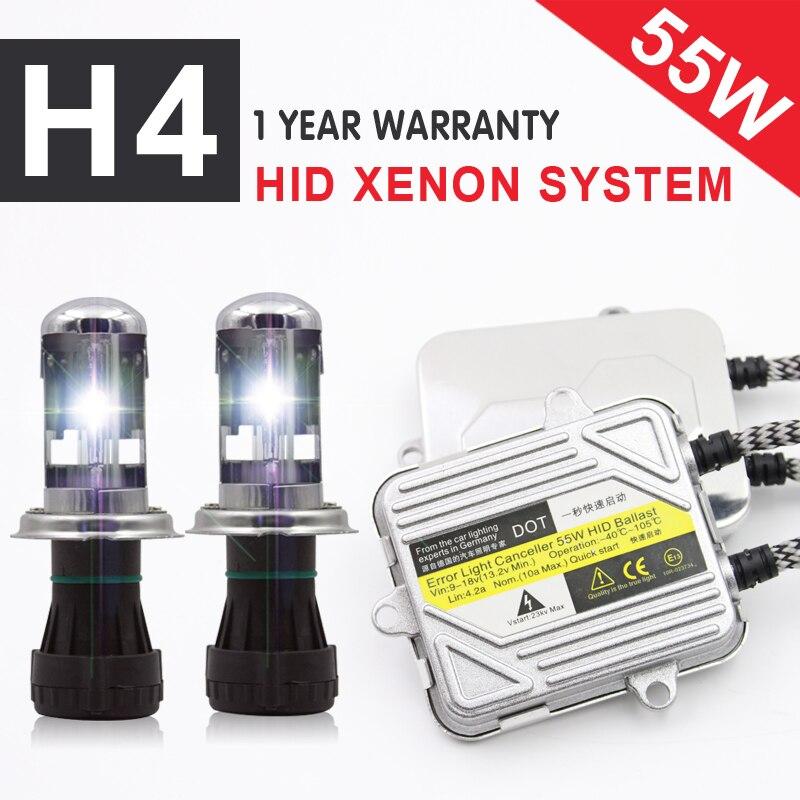 1 Set 12 V 55 W coche faros Bi-Xenón H4 pro canbus kit de Xenón HID H4-3 alta/ bajo Kit hid 3000 K 4300 K 6000 K 8000 K 10000 K 12000 K