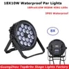 Lot de 8 lampes LED étanches 18x10w RGBW 4 en 1 éclairage d'extérieur parfait pour les DJ de noël