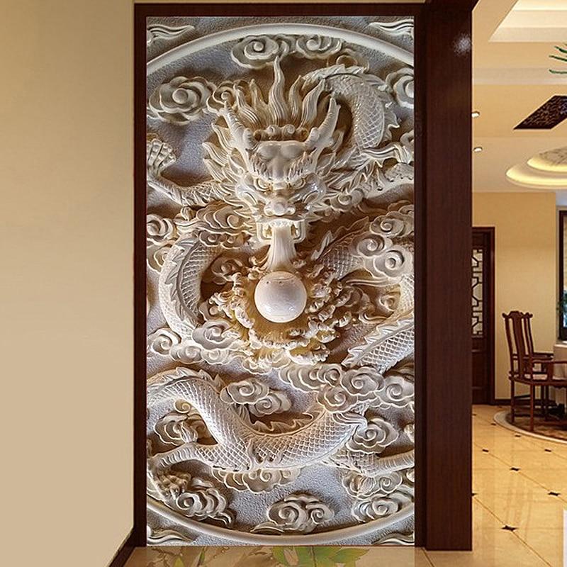 Custom photo wallpaper 3D wallpaper embossed top surface corridor jade dragon playing wallpaper