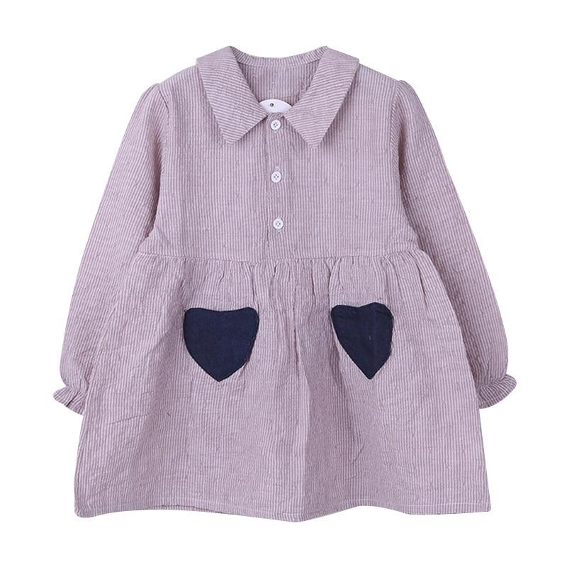 Princesa rayas camisa coreana amor forma bolsillo vestido niña niños traje verano ropa YH-17