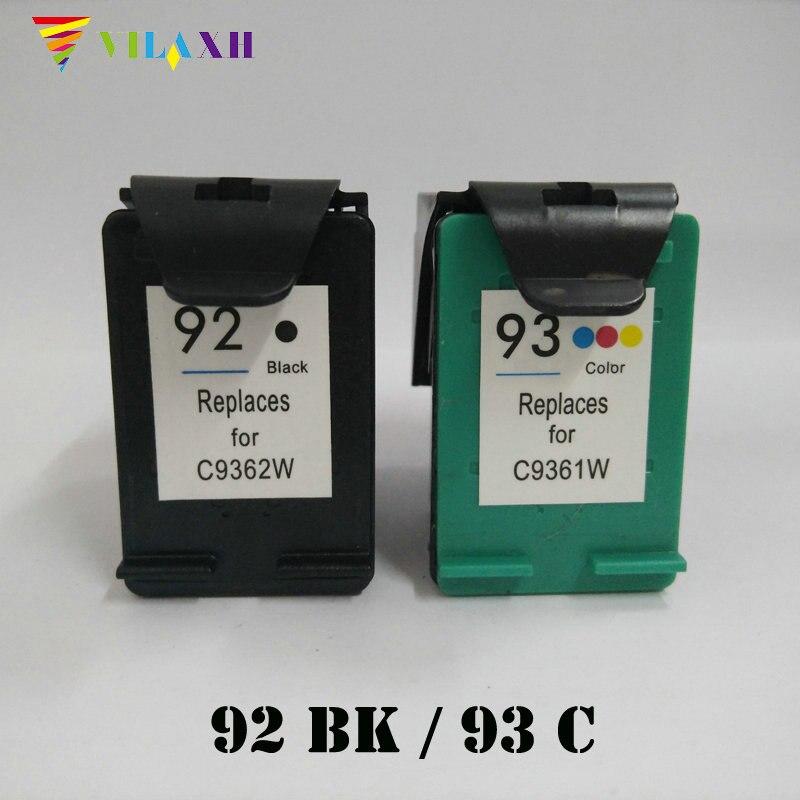 Reemplazo de cartucho de tinta Compatible viaxh 92 93 para impresora HP 92 93 para Photosmart C3100 C3140 C3180 Deskjet C3180 PSC 1507