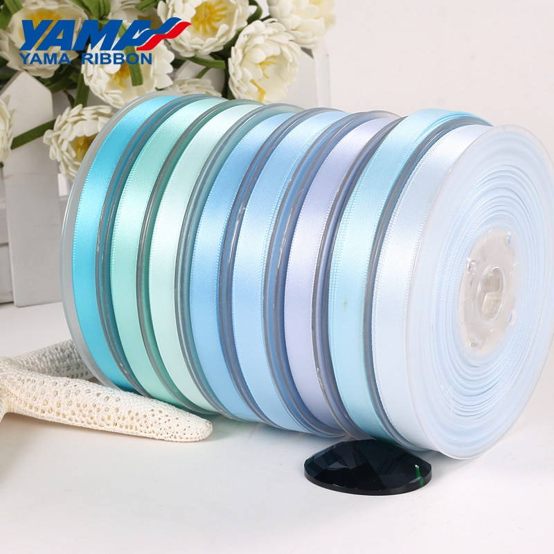 YAMA 25 28 32 38 mm 100 yardas/lote cinta de satén de doble cara azul claro y oscuro para decoración de fiestas bodas flores rosas hechas a mano