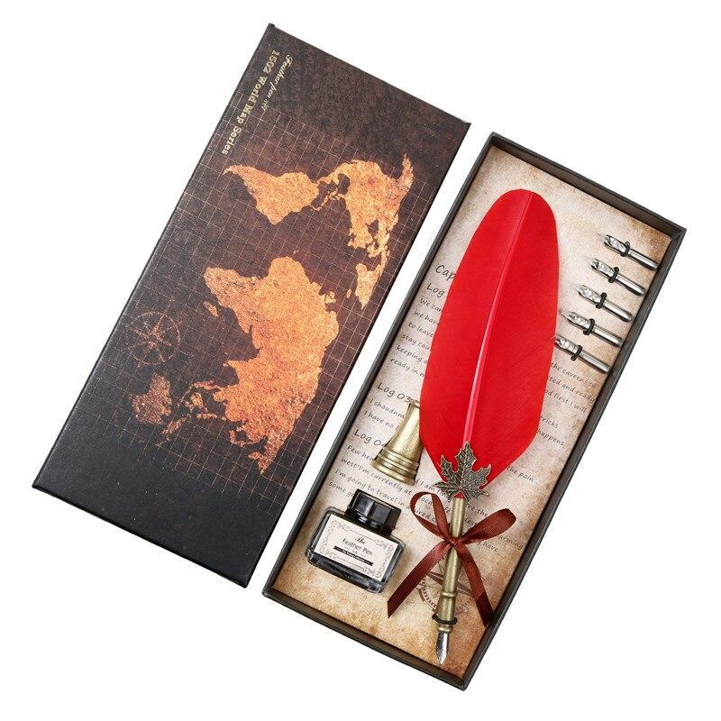 Rojo de moda Turquía pluma de firma Dip pluma Vintage pluma bolígrafo de fuente caligrafía papelería caja de regalo