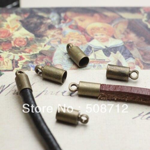 ¡Envío Gratis! 500 unids/lote tono bronce collar cordón final Tib cuentas de W/lazo ajuste Cordón de cuero de 3mm