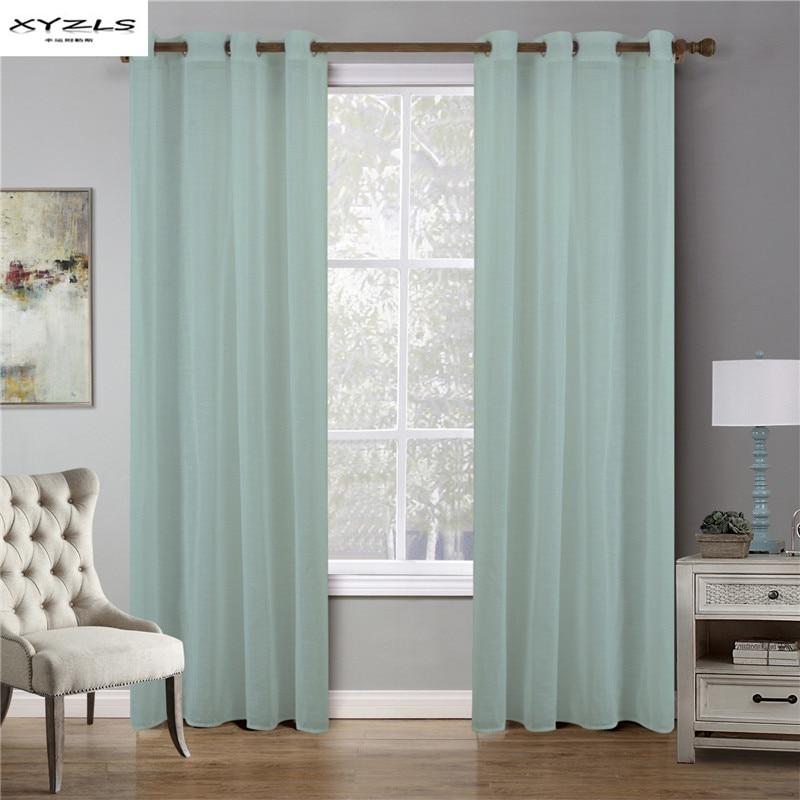 XYZLS 1 pc Pura Cortina para Sala de estar Moderna Sólida Transparentes de Tule Para O Quarto Top Cortina Com Ilhós