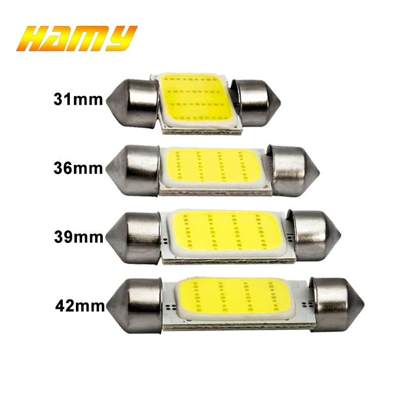 1x C10W C5W LED COB Festoon 31mm 36mm 39mm 41/42mm 12V White bulbs for cars License plate Interior Reading Light 6500K 12SMD