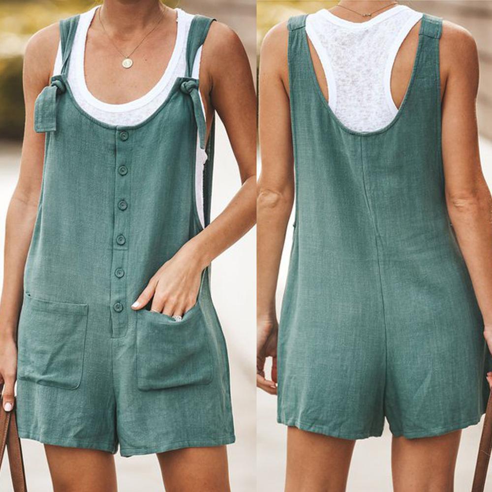 Women Casual Button Pocket Jumsuit Linen Vintage Shift Spaghetti-Strap Rompers Body Suit Ladies Clothing