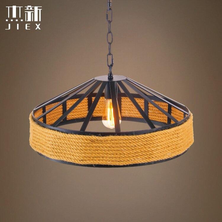 Lámpara colgante de cuerda Pastoral nórdica retro bar Café creativo sombrero de paja pantalla sala de estar luz colgante