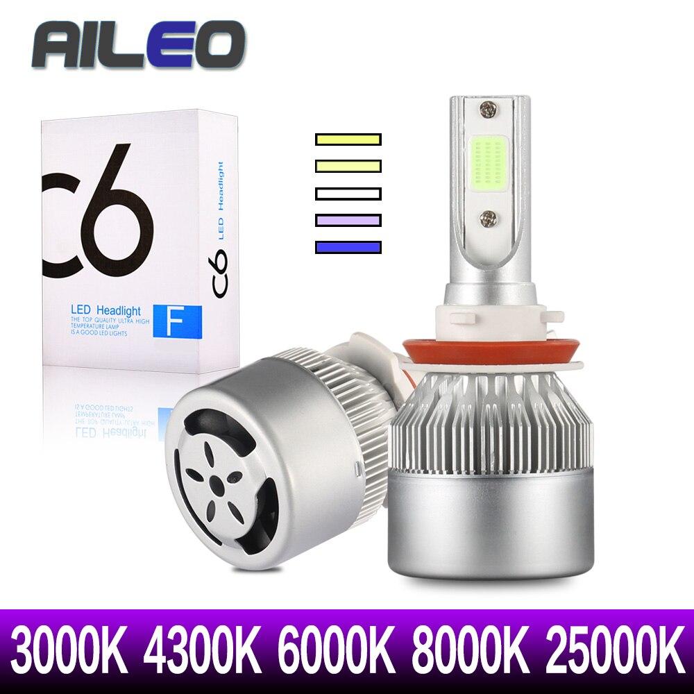 AILEO 4 stücke/2 stücke H1 H3 H4 LED 9005 9012 9003 9006 9004 880 881 HB1 HB3 Auto scheinwerfer Lampen 3000 K 8000 k 6000 K 4300 K 25000 K COB C6
