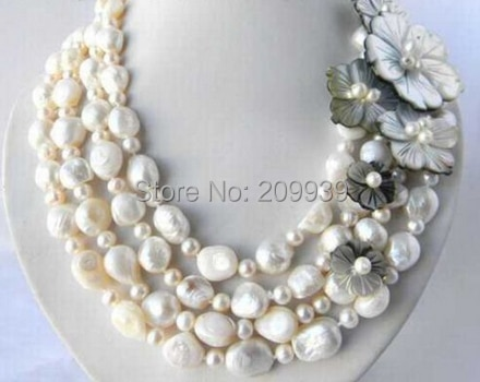 Huij 004169 4 Strands 18  13 mm blanco ronda perlas de agua dulce barroca Shell collar de la flor