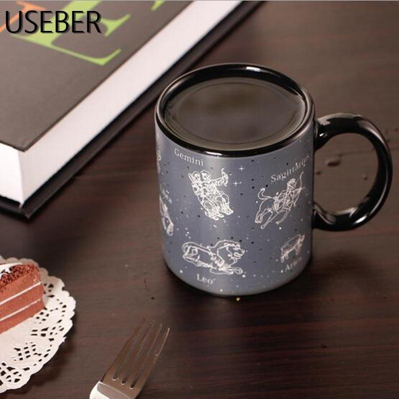 De cerámica de la constelación de cambio de Color tazas bien sensibles al calor cambiando de té café estrella de la Copa