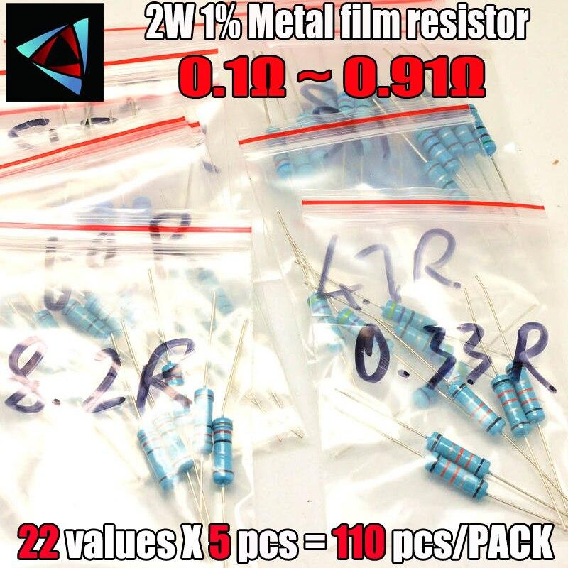 0.1R-0.91R ohm 2W 1% 22valuesX5 Uds = 110 Uds resistencia de película de metal DIP, Kit surtido de resistencias