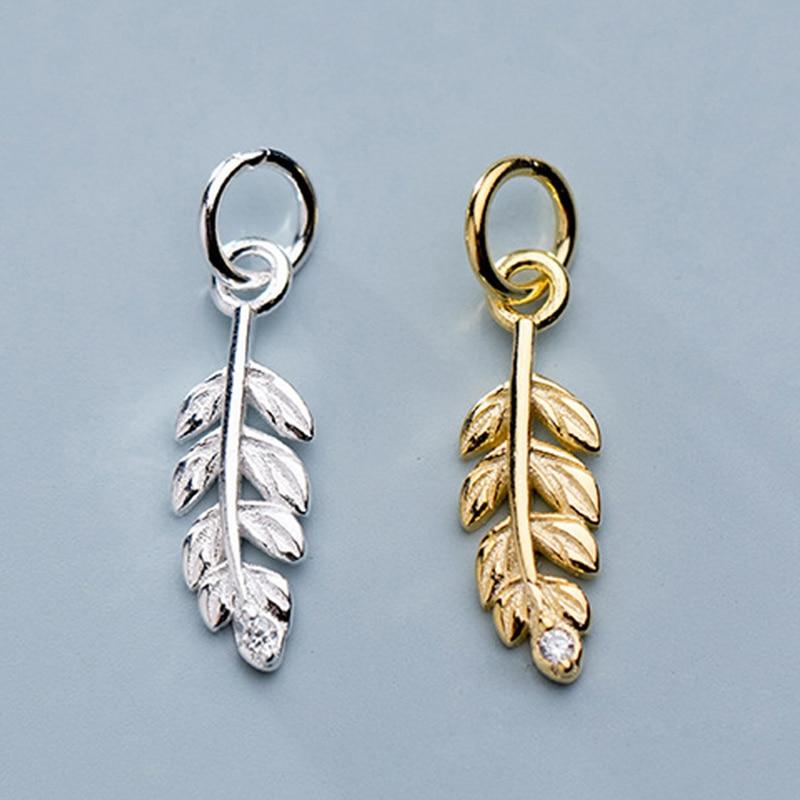 Plata de Ley 925 bonitos encantos de plumas de diseñador 15,5x5mm pulseras hechas a mano colgantes de gota piezas de fabricación de joyería DIY