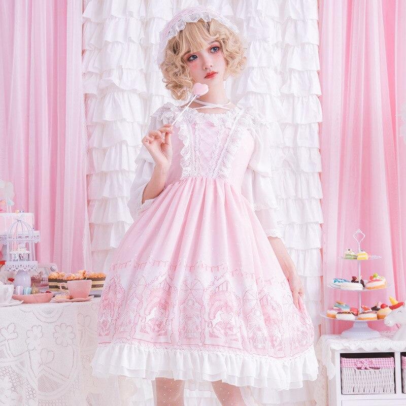 A Terra de Fadas ~ Rosa Doce Lolita Vestido Sem Mangas Princesa Vestido de Festa Estampado