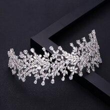 Jankelly mode dames chapeaux de mariage avec cube zircon gros accessoires de cheveux de mariée coiffure diadèmes de cheveux de mariée