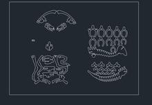 Parasaurolophus Dinosaur dragon DWG CAD drawing file for cnc laser cutting engraving D4