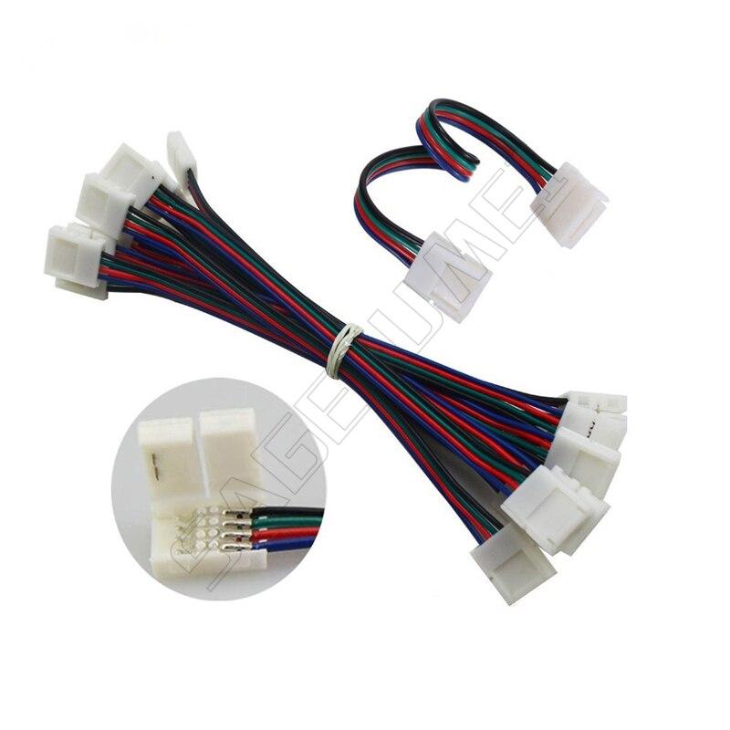 موصل شريط led ذو 4 سنون ، محول PCB لـ 10 مللي متر 100 5050 ، شريط إضاءة RGB LED SMD ، 3528 قطعة