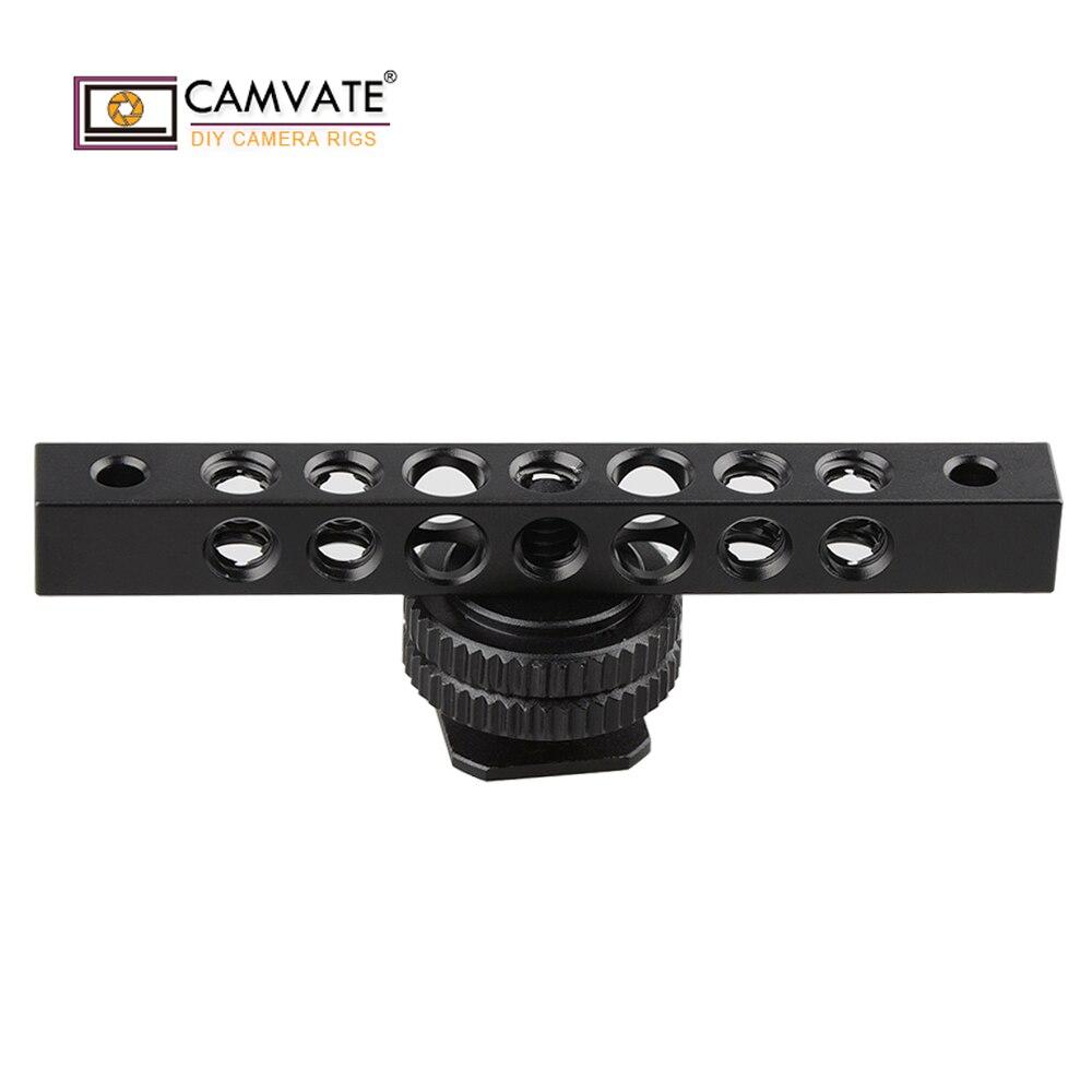 CAMVATE Cool negro aluminio queso Bar con 1/4-20 agujero de rosca para monitor C1483 Cámara accesorios de fotografía