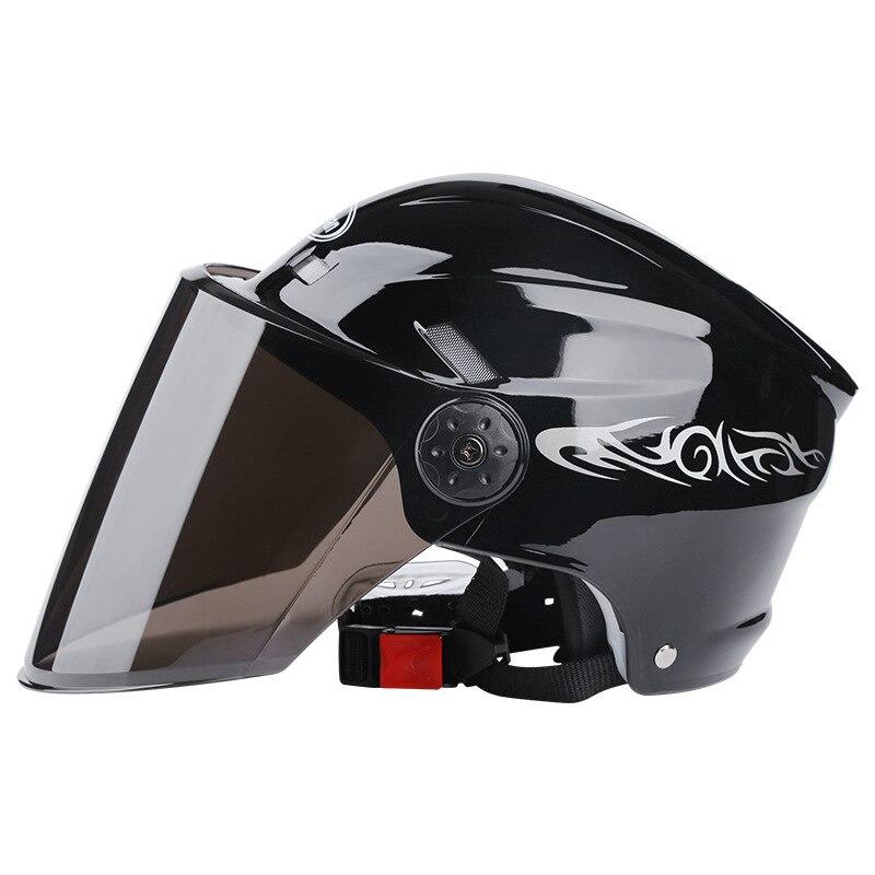 Casco de moto con cara abierta media gorra de béisbol moto de cross casco duro de seguridad Anti-UV casco de Motocross para hombre y mujer