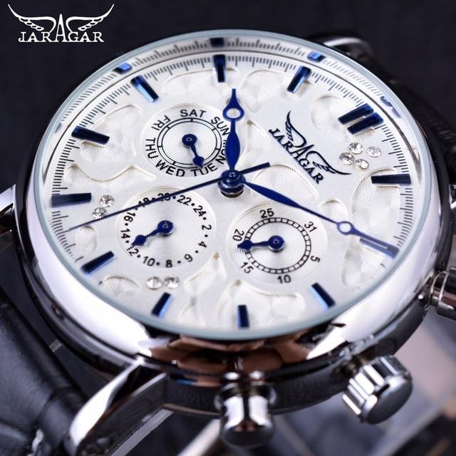 2019 Fashion Jargar Automatic Mechanical Business Watch Mens Calendar Dress Wristwatches Men Casual