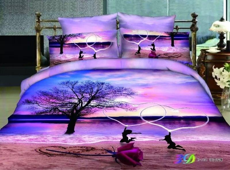 Amante romántico playa 3D juegos de ropa de cama estampados cobertores cama de algodón funda nórdica decoración de dormitorios de niñas completo reina rey 4-5pc de la boda