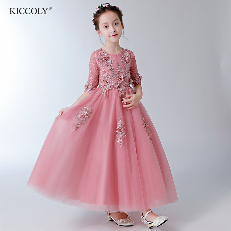 Elegant Beaded Appliques Flower Girl Dress Party Pageant Gown Half Sleeve Princess Wedding Dress Kids First Communion Dresses