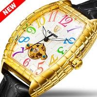 2020 TEVISE Watch Men Crocodile Skin Case Tourbillon Automatic Mechanical Watch Waterproof Men Leather Wristwatches Male Clock