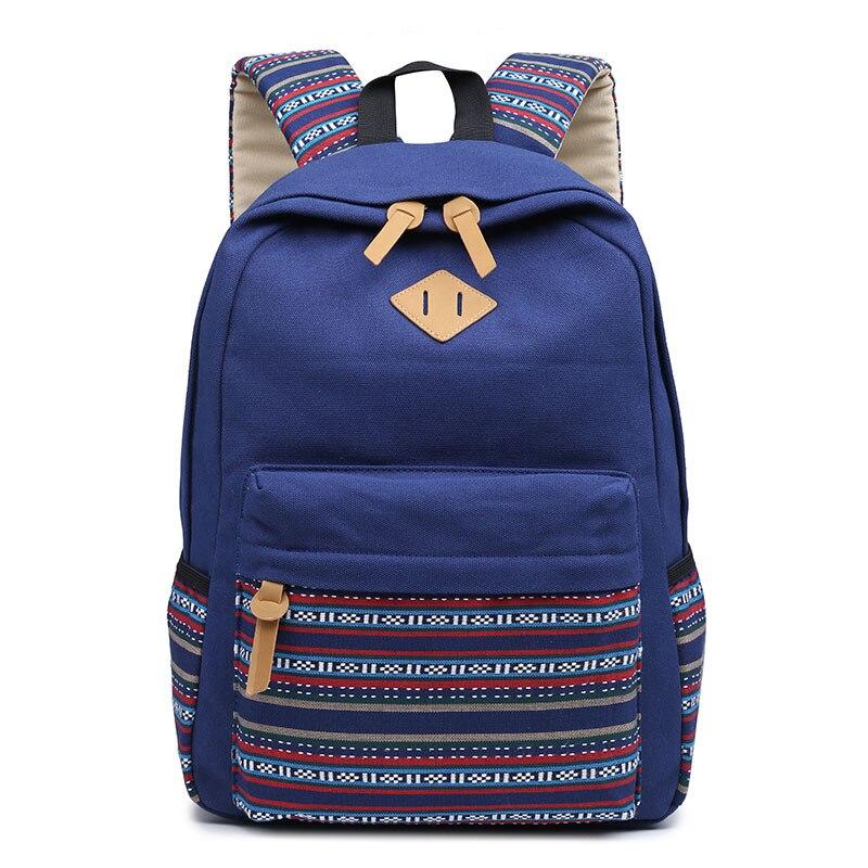 2018 в полоску рюкзак цветы холст школьный Студент моды Bookbags школьные сумки