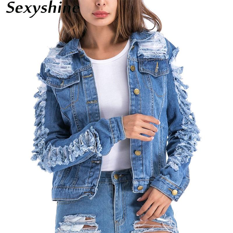 Demin casacos femininos outono 2018 plus size streetwear vintage manga longa outerwear buraco das mulheres befree jean senhoras jaquetas 4xl