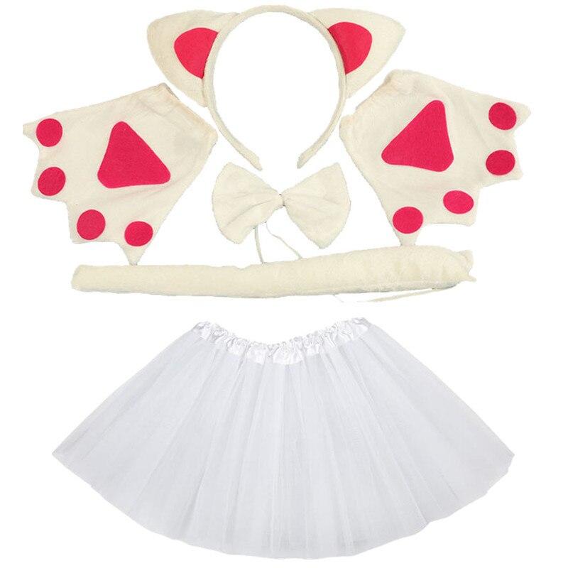Gato blanco Cosplay animales diadema arco cola patas tutú falda conjunto accesorios adultos niños niñas fiesta Props regalo de Halloween