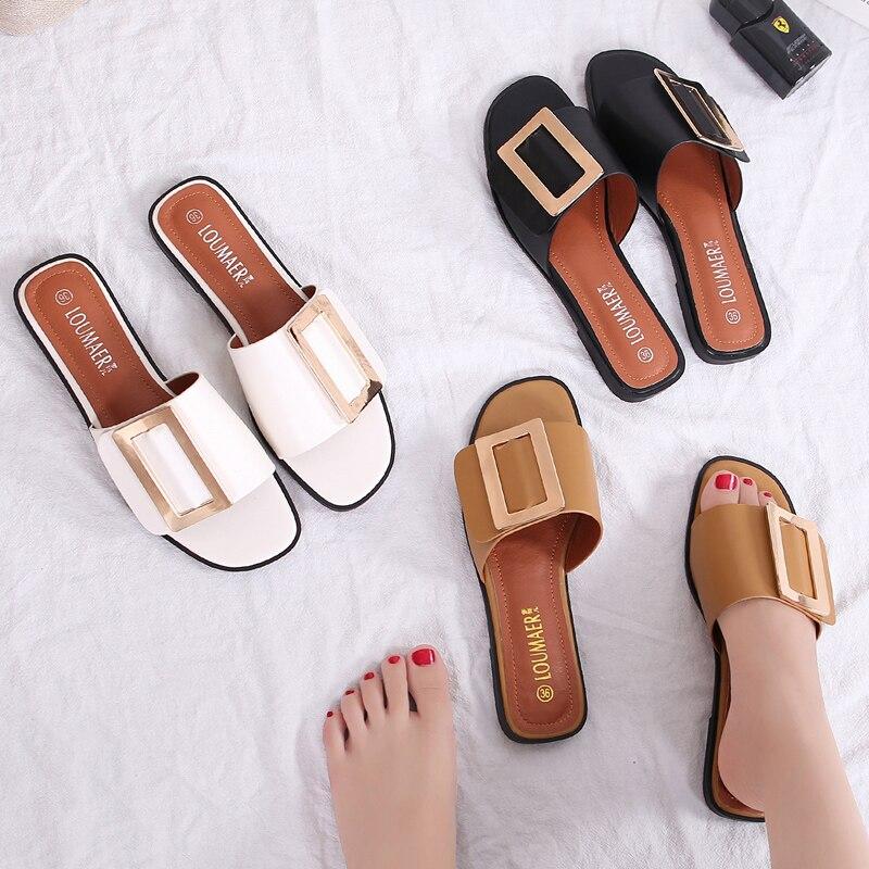 Sandalias blancas/marrones para mujer, tallas grandes 42/43, chanclas con hebilla metálica, chanclas planas para mujer, zapatos de cuero, Sandalias de verano para mujer