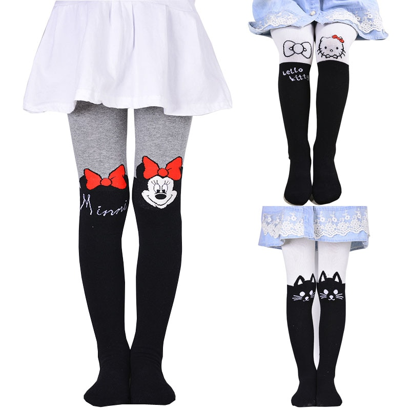 Nuevo 2020 chica minnie medias apretado sólido lindo diseños de dibujos animados niños niñas medias chicas medias