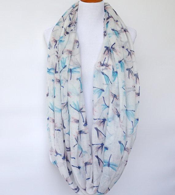 Bufanda blanca de libélula infinita, bufanda de primavera, bufanda de moda para mujer, regalo para ella