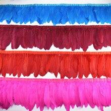 Sprzedaż hurtowa 10 metrów gęsiego pierza wykończenia Fringe gęsi pióro wstążka czarne białe pióra dla rzemiosła ślubne pióra dekoracji