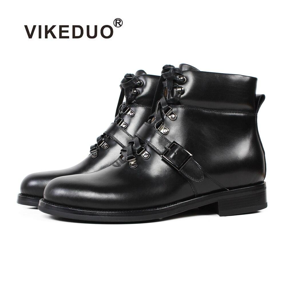 VIKEDUO-حذاء رجالي بكعب عالٍ مصنوع يدويًا ، حذاء جديد للدراجات النارية ، جلد طبيعي ، مقاس كبير ، 2019