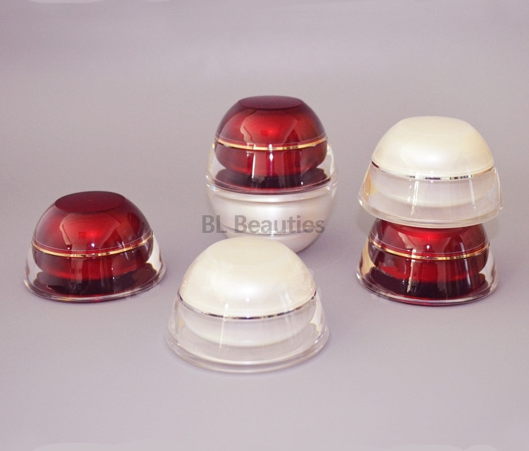 Tarro de acrílico vacío envase de crema 15g 30g 50g Pagoda cosmético plástico pera roja botellas blancas cosmético ojo botella crema facial
