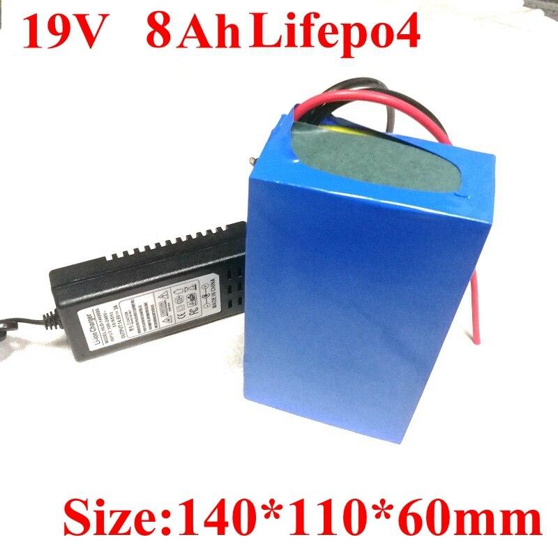 19V 8Ah kapazität 20V 4.74A 4.5A BMS lifepo4 für tabletten PC externe backup Laptops Power Bank DC stecker 1A ladegerät