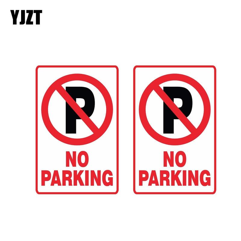 YJZT 2X 11CM*7.2CM Warning NO Parking Car Sticker Reflective Funny Decal PVC 12-0893