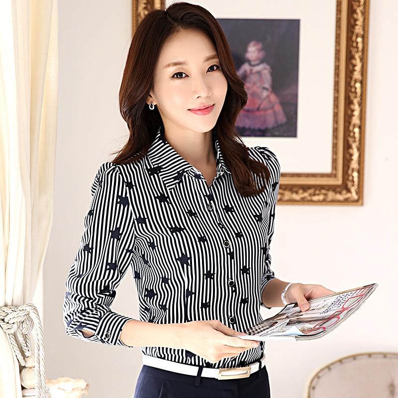 Star Printed Lady Chiffon Striped Shirts Size S-3XL Long Sleeve Design Women Office Fashion Blouses 2018 New Blouses