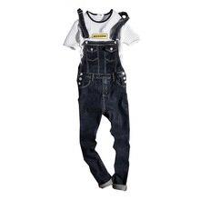 Neue 2019 Mode Vintage Design Tasche Jeans Denim Overalls Männer Casual Waschen Skinny Lätzchen Overalls Jeans Männlichen Blau Overall Jean