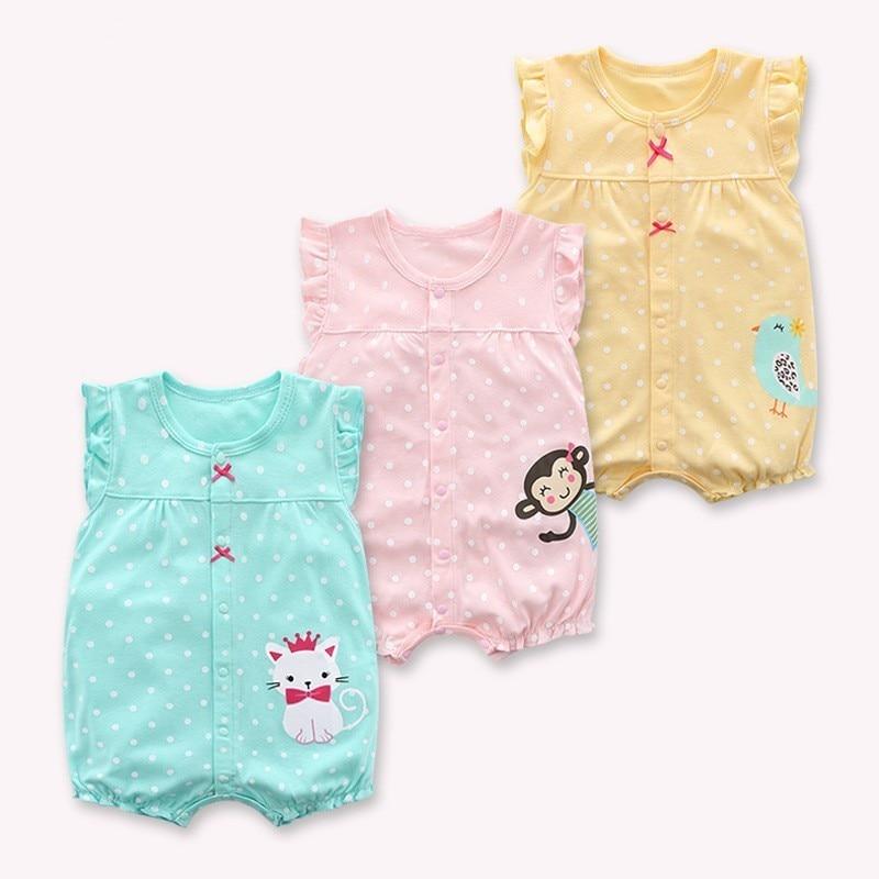 2019 ropa de bebé recién nacido coreano verano bebé Dot sin mangas Mono para bebé niñas mono estampado de dibujos animados