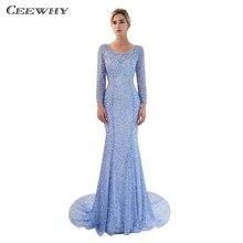 CEEWHY dos ouvert liban robes formelles robe de soirée en or à manches longues robe de soirée de luxe robe de perles Maxi Vestido arabie saoudite