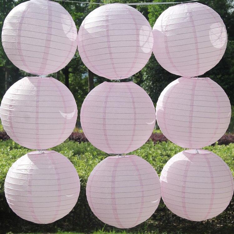 Lampion rosa, farolillo chino de papel decorativo para bodas y compromisos, fiesta de cumpleaños de Baby Shower, lámparas colgantes de bolas de papel