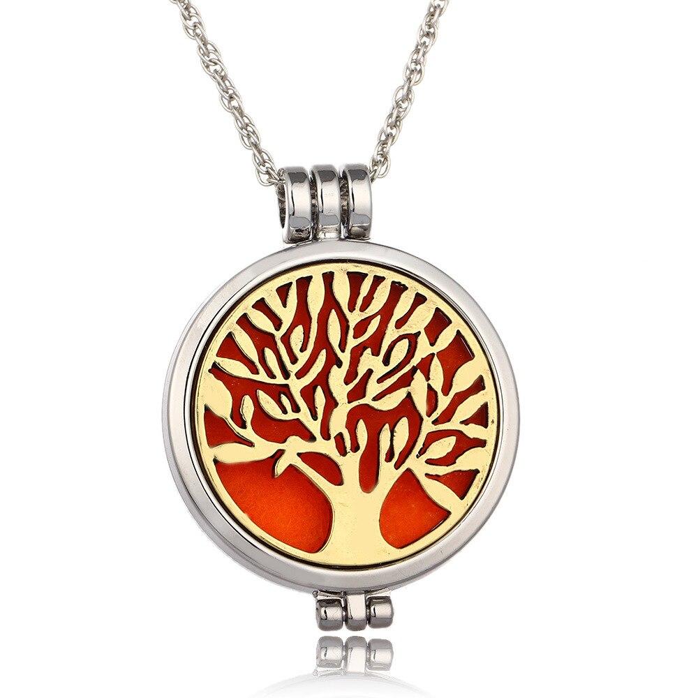Árvore da vida óleo essencial difusor necklaceOpen night light DIY pingente necklaceJewelry presente da Mulher