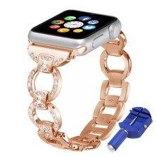 OSRUI diamond Strap For Apple Watch band 42mm(44MM)/38mm(40MM) iwatch series 4/3/2/1 Stainless Steel wrist link Bracelet belt