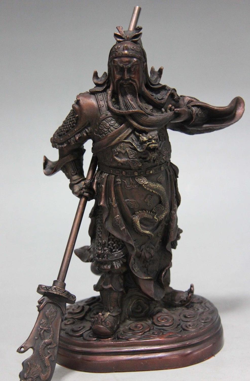 Envío gratis 9 Popular Chino Rojo Puro de Cobre de Bronce Del Dragón Guan Gong Guan Yu Guerrero Estatua