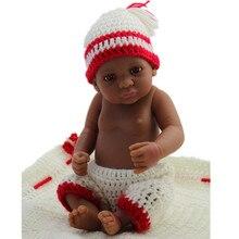 Pieno Morbido Silicone Reborn Baby Doll 11 Pollici African American Baby Doll Nero Della Ragazza Reale di Vita Del Bambino Bambola Bella Del Bambino ragazzo Bambola Regalo