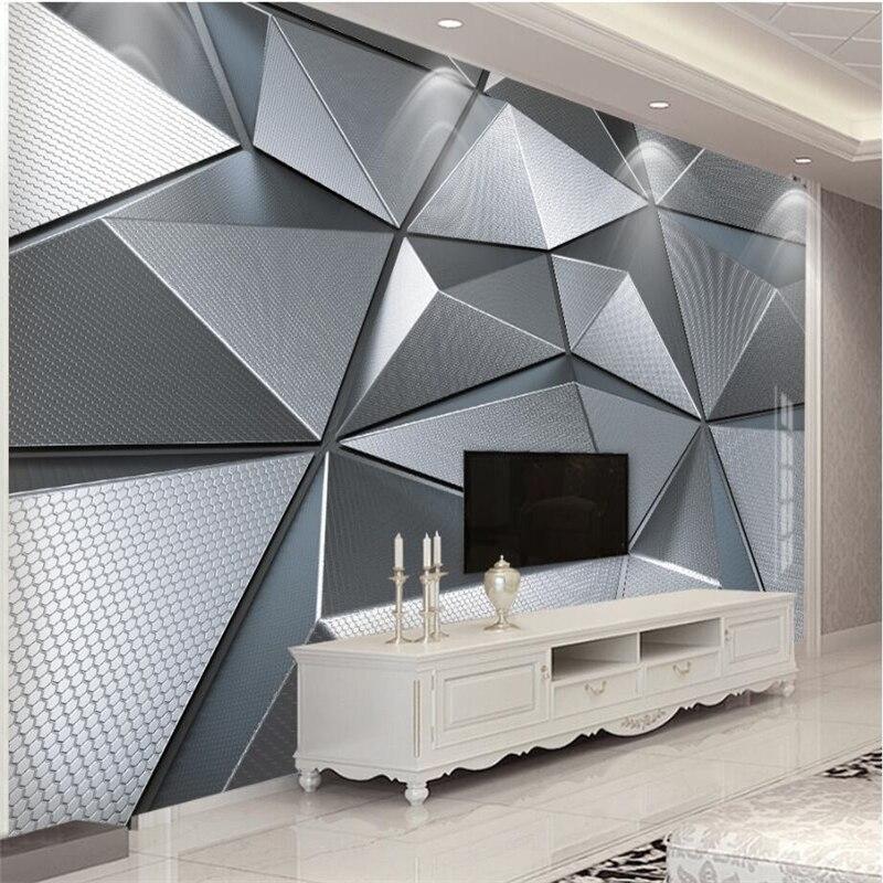 Belo papel de parede personalizado, sala de estar, quarto, papel de parede, mural 3d, atmosfera geométrica, atmosfera eric, metal, plano de fundo, parede