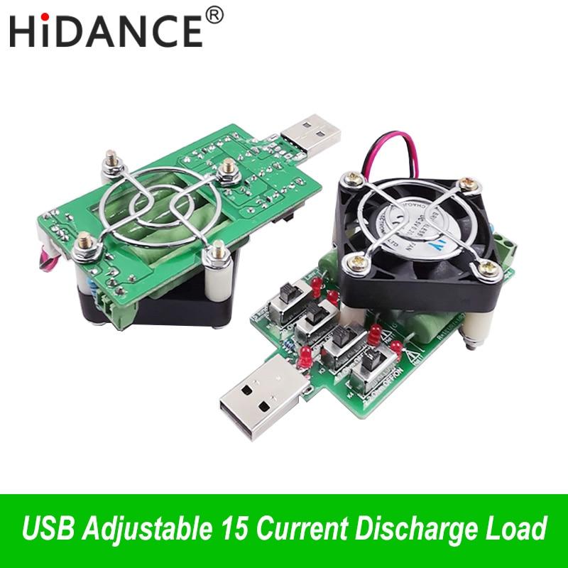 Ajustável 15 tipo atual usb resistor de carga eletrônica resistência à descarga capacidade tester dc voltímetro tensão energia amperímetro